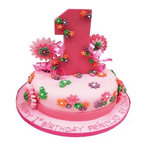 Floral First Birthday Cake