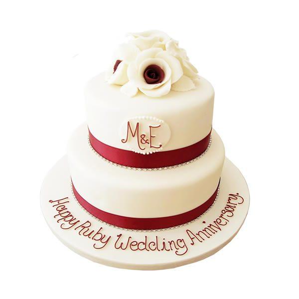 Rose Ruby Anniversary Cake