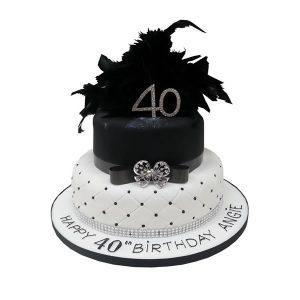 Diamante Feathers Cake