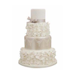Silver Petal Wedding Cake