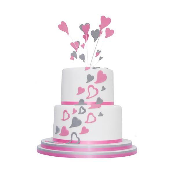 2 Tier Loving Hearts Engagement Cake