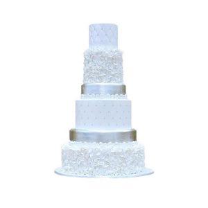 Silver Petals Wedding Cake