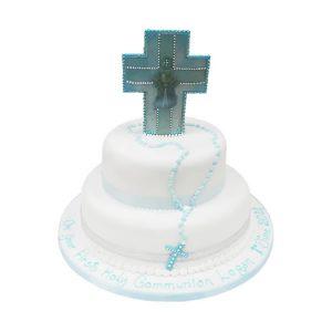 2 Tier Communion Cross Cake